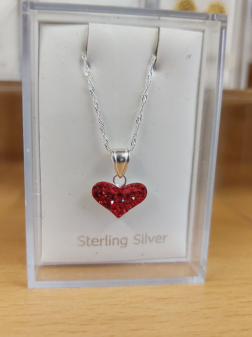 Heart shaped crystal pendant and chain. Both 925 silver.