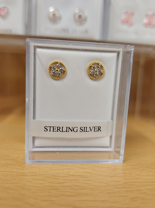 Cubic Zirconia flower earrings. Gold coloured setting.  925 silver