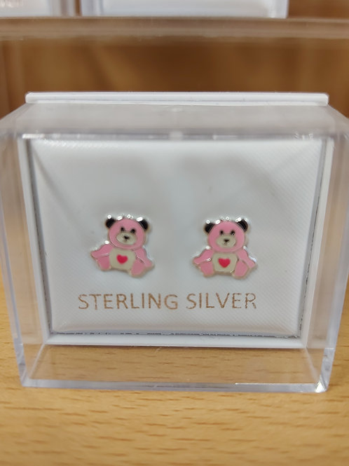 Tiny childrens pink teddy earrings. 925 silver.