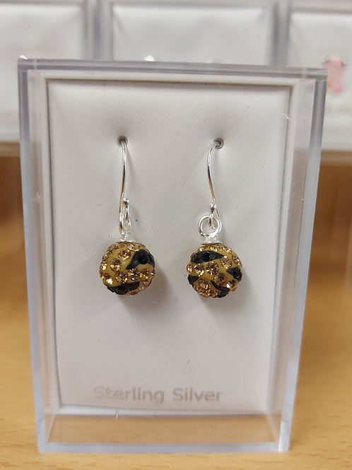 Gold and black sparkle disco ball drop. 925 silver