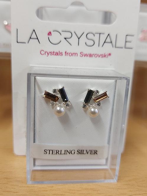 Geometric Swarovski crystal  earrings. 925 silver.