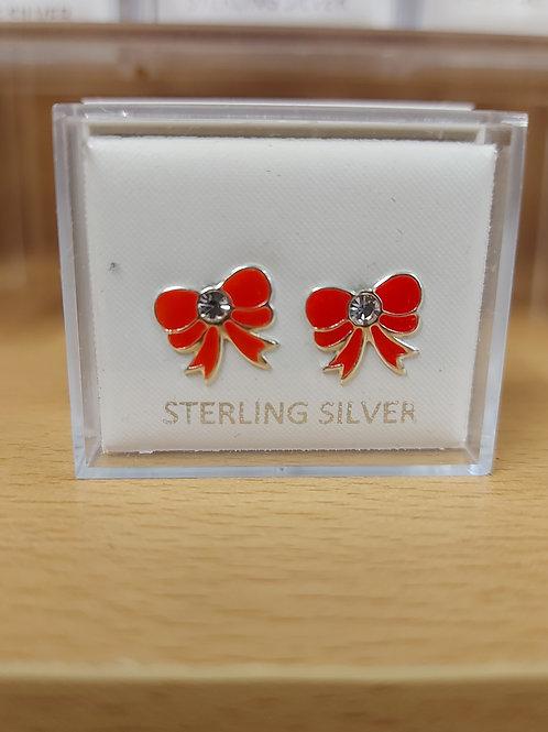 Red enamel bow earrings. 925 silver