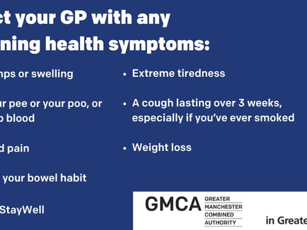 Contact your GP with any concerning health symptoms