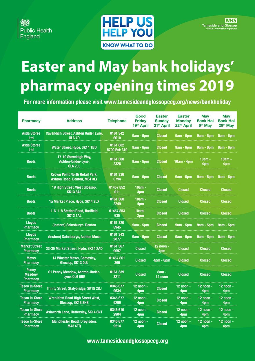 Easter and May pharmacy opening times