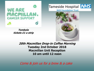Macmillan Drop in Support Group Macmillan Coffee Morning