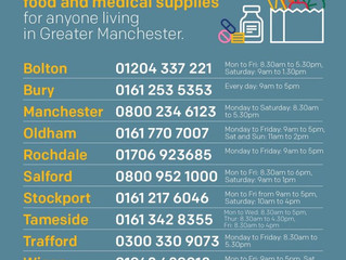 Help and support with food and medical supplies - Greater Manchester community hubs