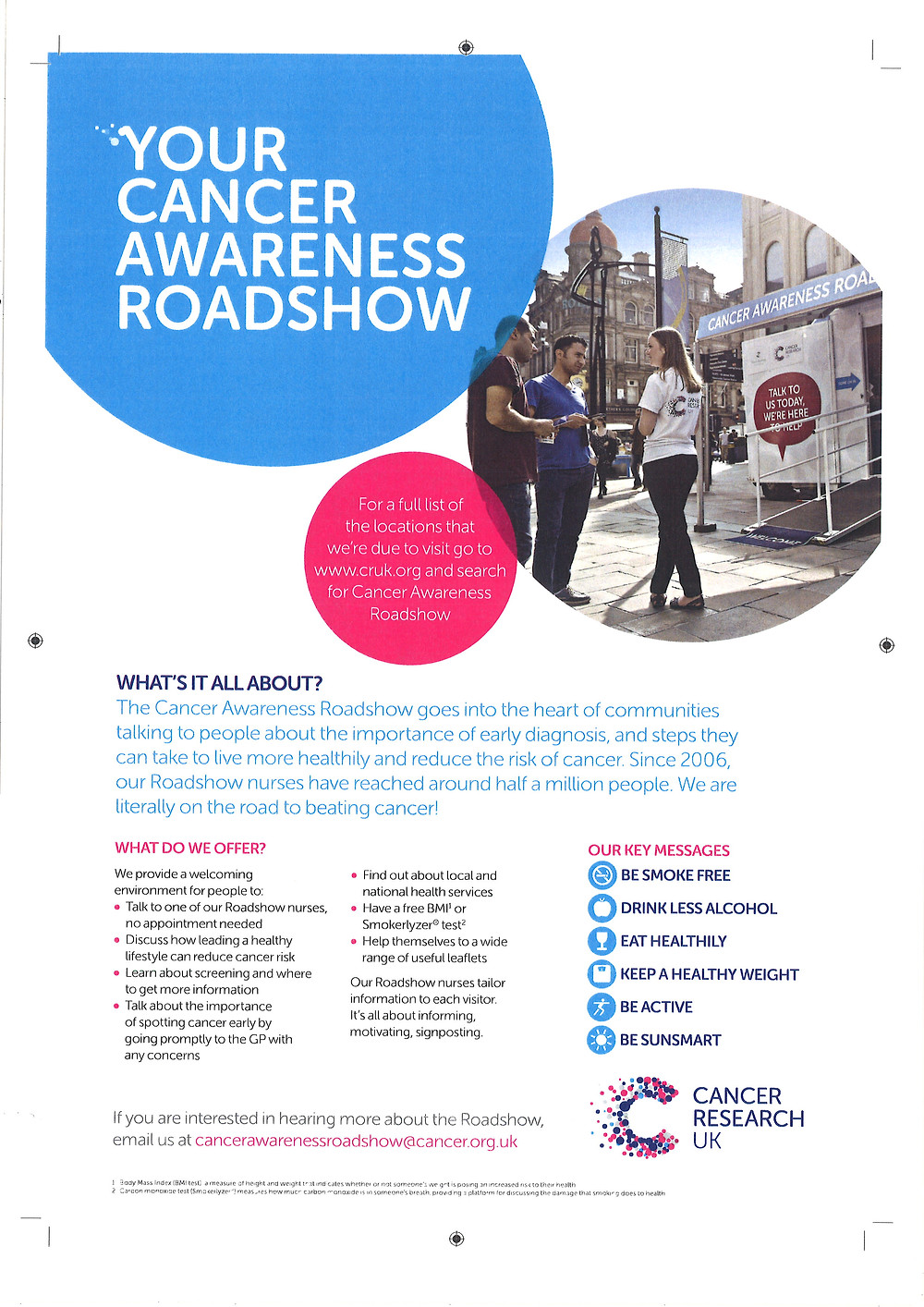 Cancer research UK roadshow