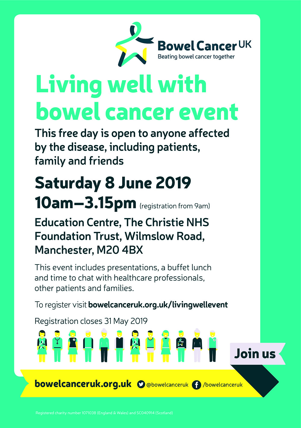 Bowl cancer uk Living well with Bowl cancer event
