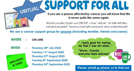 Virtual support group for anyone affected by cancer