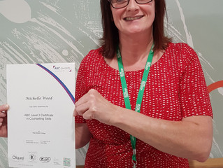 Michelle Wood our Macmillan information and support assistant achieves Level 3 certification in coun