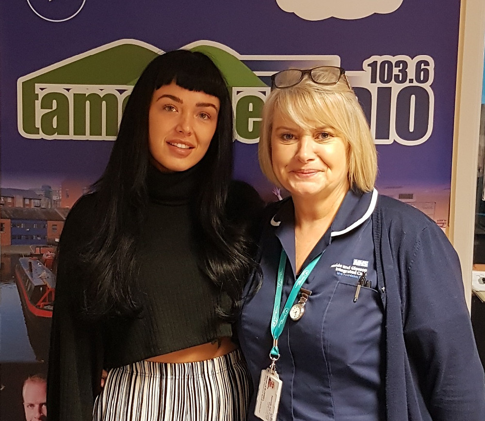 Michelle Blodwell and Gemma Quinton at Tameside Radio