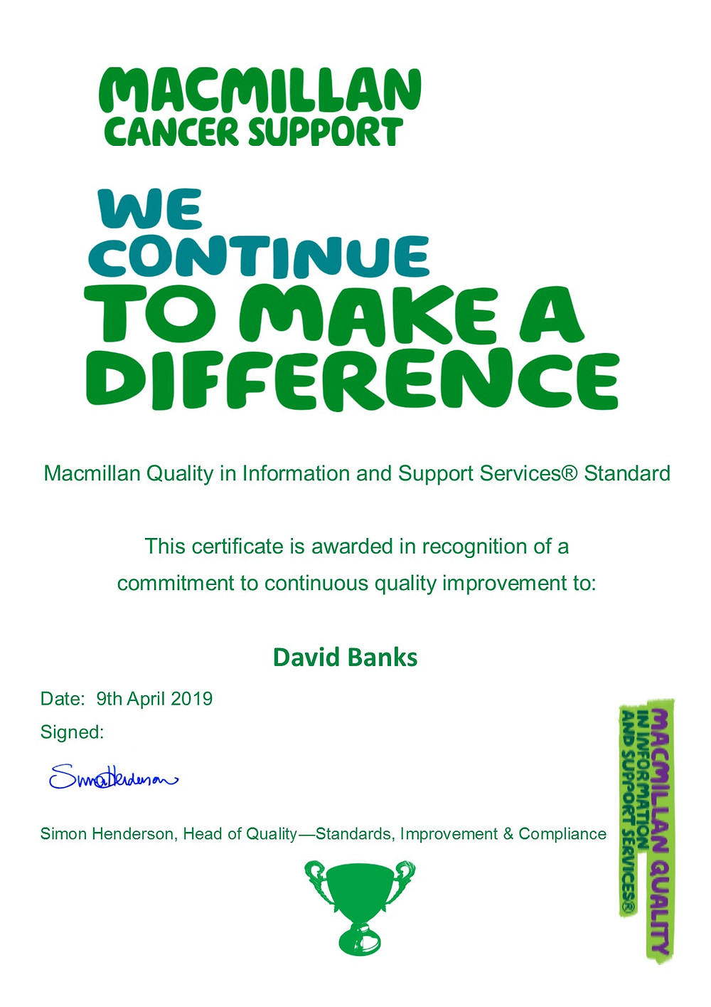 Macmillan Cancer Support MQUISS