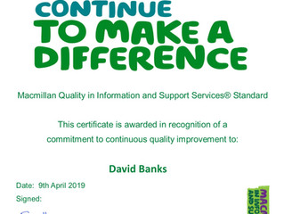 Tameside & Glossop Macmillan Information & Support service achieved  Macmillan Cancer Suppor