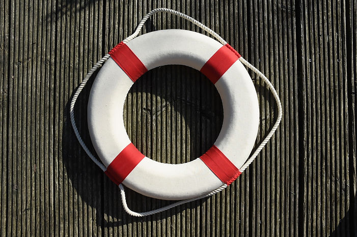 A lifesaver hanging on wooden board._edi