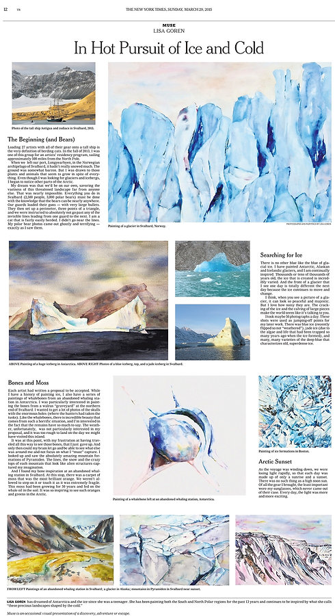 Article in the New York Times by Lisa Goren with paintings by her as well