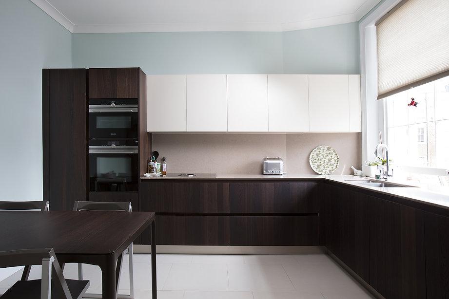 Stylish european kitchen, natural walnut wood, clean lines, sustainable