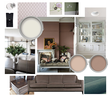 mood board for a stylish london home, natural calming colours