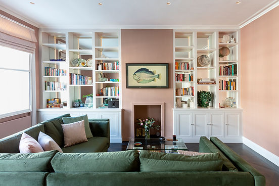 new built in bookcases in a stylish and sustainble home using natural colours and finishes, with a french versailles panel wood floor. Frame TV, mirrored, wall cabinets, project maanged for the client