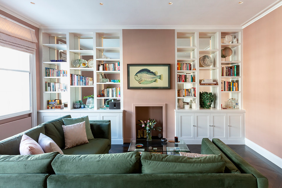 Light and bright modern living room pink and green colours