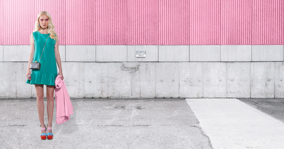 Fashion Model on Pink Wall