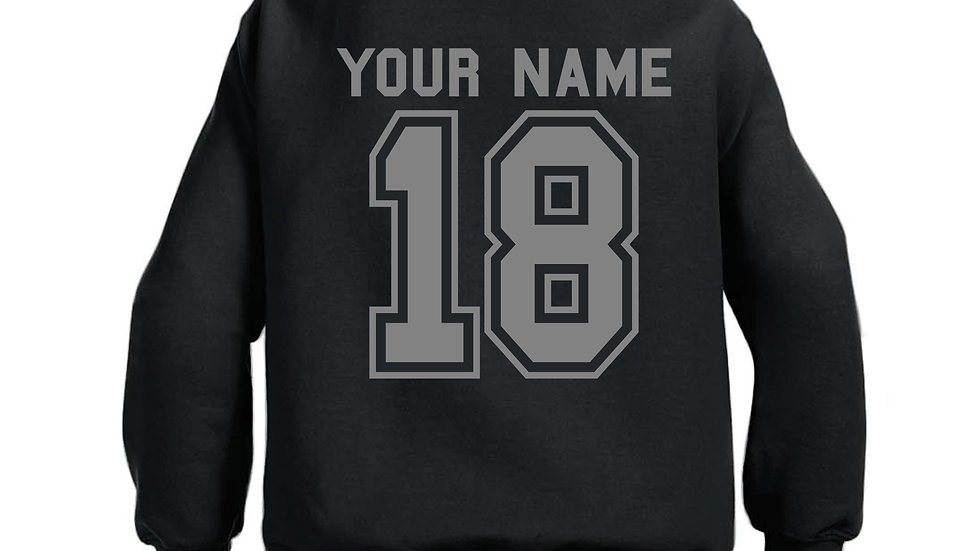 CUSTOM NUMBER AND NAME YOUTH HOODIE
