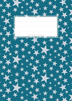 dunkelblau / Sterne - A5 Starkpapier (minouki)
