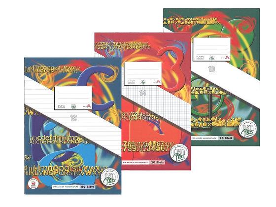 A4 Heft - liniert, kariert, glatt, unliniert, Korrekturrand, Rahmen, Mittelstrich - Schulsachen und Schulhefte