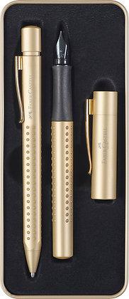 Grip Edition Füller M + Kugelschreiber gold im Geschenketui (Faber-Castell)