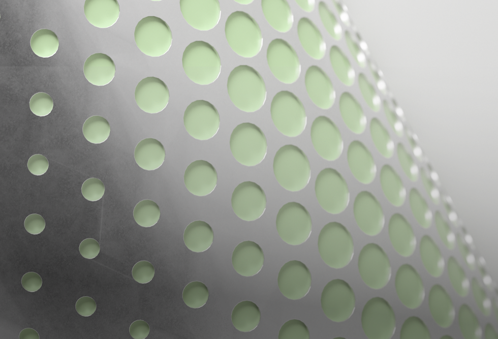 Light green dots curved over a gray background. There is text on the bottom left corners and an icon in the bottom right one.