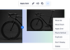 A horizontl image of a black bike being selected to Flip to Vertical and a vertical section with the same image next to it