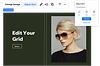 Edit Grid mode is open,  alongside an image of a blonde woman wearing sunglasses on a green background