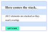 Header text, smaller text and a button being stacked