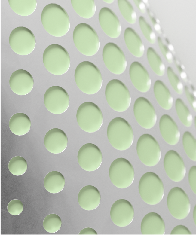 image with a grey background with green raised dots