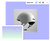 A photo of a white helmet on top of a light purple background next to a color picker from the Editor X design panel choosing the purple