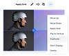 Two duplicate images of a man in a silver helmet with the Sections panel open and Duplicate selected