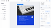 Synthesizer website being built on Editor X with the Layers panel and the Inspector panel open