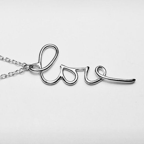 Wire Silver Real Handwriting 'Love' Necklace