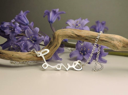 Silver Real Handwriting 'Love' necklace