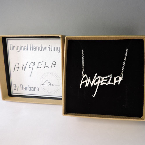 Silver Real Handwriting Name Necklace