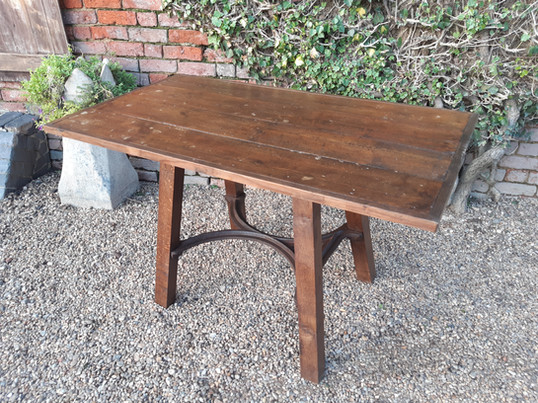 Industrial Table with Cast Iron Stretcher