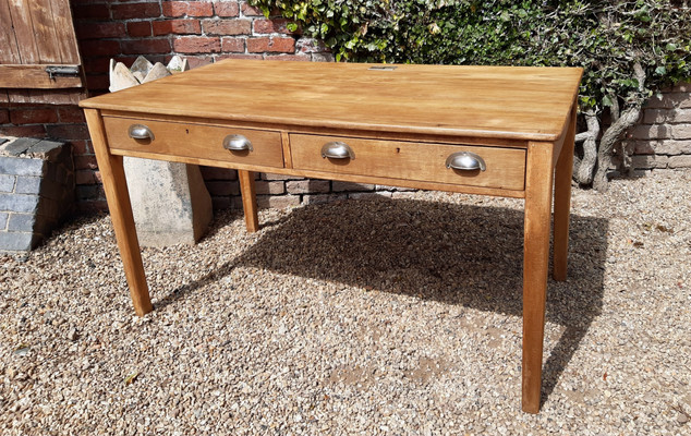 Beechwood Desk with two side drawers and cup handles