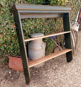 Plate Rack painted in Olive Green with Waxed shelves £135