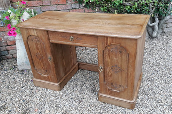 Victorian Pitch Pine Knee Hole Desk.jpg