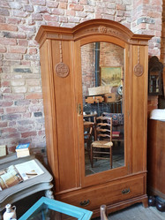 Large Edwardian Satin Walnut Wardrobe