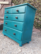 Painted Victorian Pine Chest of Drawers