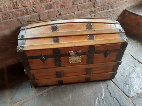 Strapped Pine Dome Topped Chest with Brass Hinges