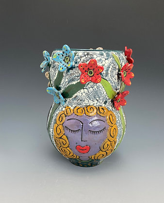 Three Dear Friends, Vase with Three Girl's Faces, Front View, Lilia Venier Ceramics