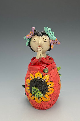 Joy, Jar with Girl and Sunflower, Front View, Lilia Venier Ceramics