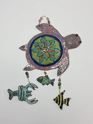 Turtle, Crab, Fish, Wall Art, Front View, Lilia Venier Ceramics