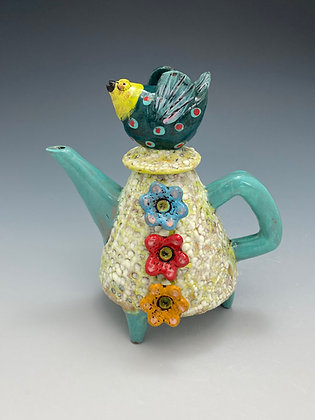 Lonely Bird, Teapot with Birds and Flowers, Front View, Lilia Venier Ceramics